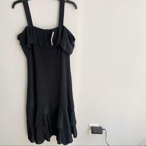 J. Crew Collection Black Cold Shoulder Silk Dress